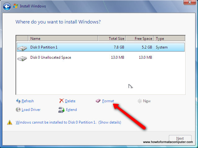 Installer Windows 7 - Windows 7 Installez Formater une partition
