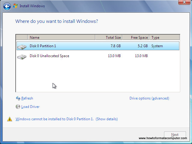 Installer Windows 7 - Où voulez-vous installer Windows