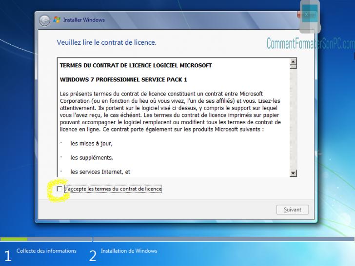 Installer Windows 7 - Conditions de licence