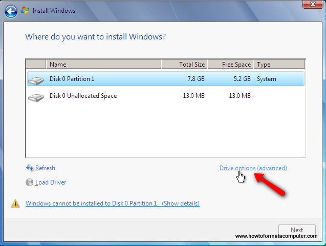 Installer Windows 7 - Options de lecteur