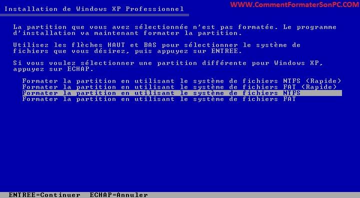 Formater Partition en NTFS
