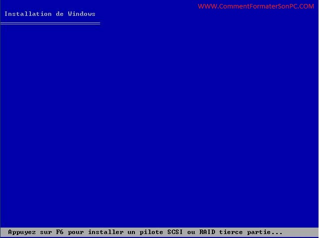 Installer Windows XP pilote SCSI ou RAID