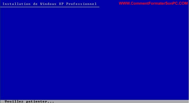 Installer Windows XP Veuillez patienter
