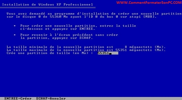 Taille partition pour Windows XP