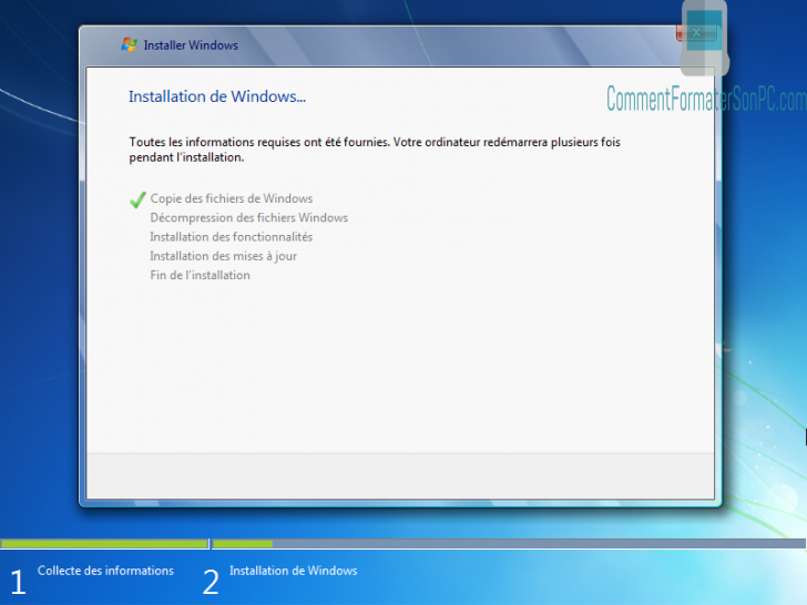 Installer Windows 7 - Configuration en cours d'exécution
