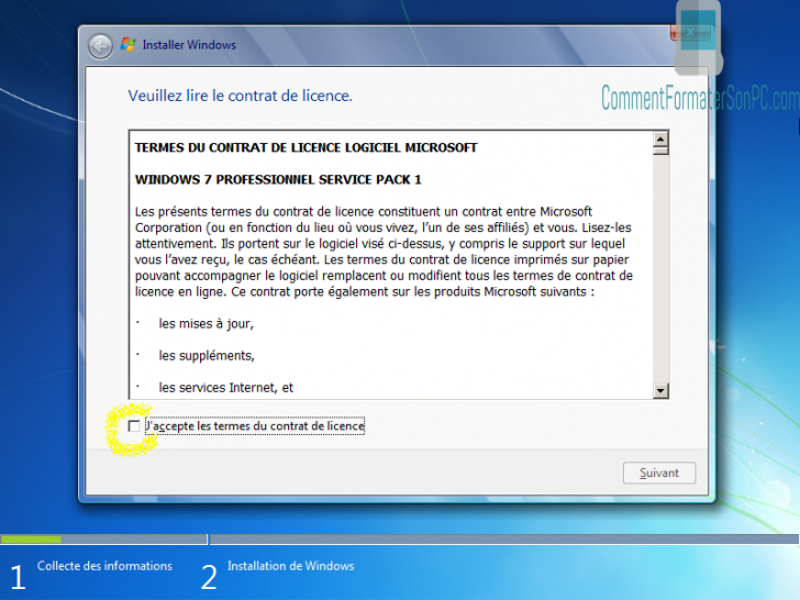 Installer Windows 7 - Conditions de licence
