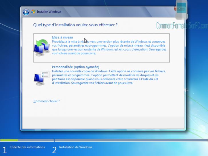 Installer Windows 7 - Installation personnalisée